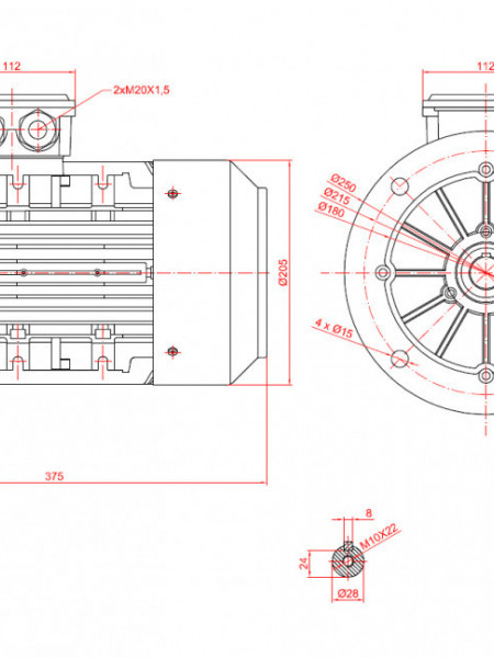 Motor electric trifazat 1.5kw 1000rpm 100 B5