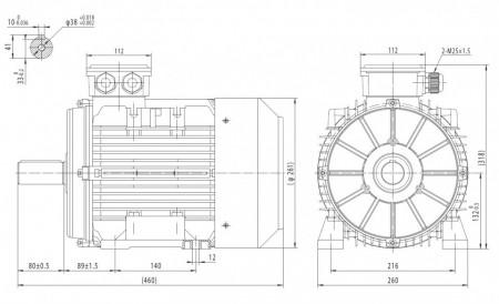 Motor electric trifazat cu doua viteze 6.1/4.5kw 1400/1000rpm 132 B3