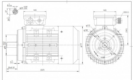 Motor electric trifazat 0.55kw 750rpm 90 B14