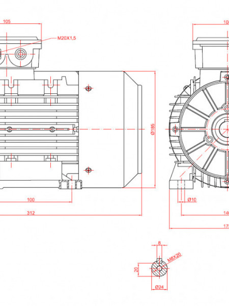 Motor electric trifazat 0.75kw 1000rpm 90 B3
