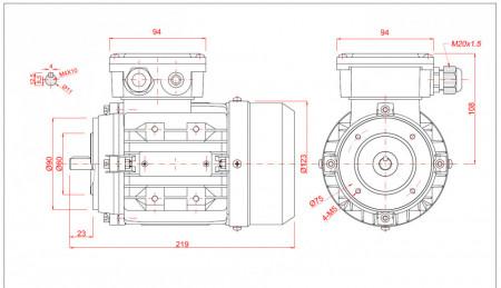 Motor electric trifazat 0.12kw 1400rpm 63 B14
