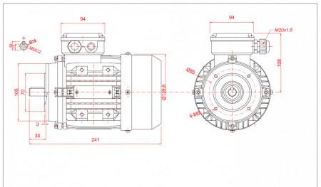 Motor electric trifazat 0.25kw 1400rpm 71 B14