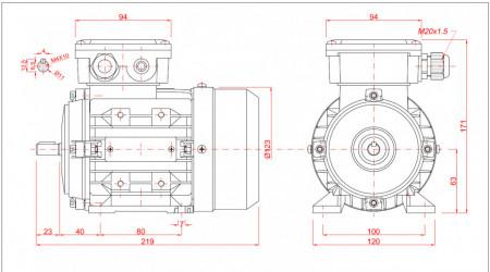 Motor electric trifazat 0.25kw 3000rpm 63 B3