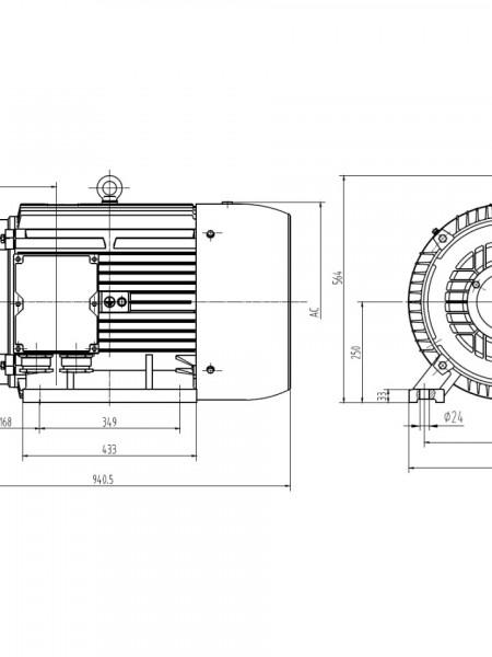 Motor electric trifazat 55kw 1400rpm 250 B3