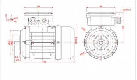 Motor electric trifazat cu doua viteze 0.04/0.3kw 1400/750rpm 56 B14