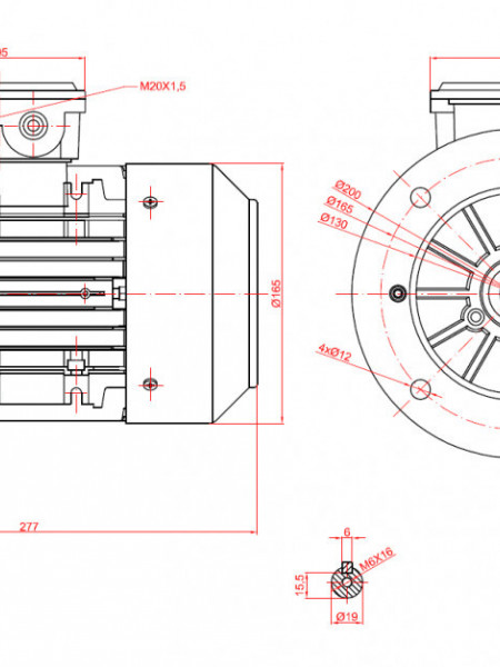 Motor electric trifazat cu doua viteze 1.1/0.8kw 3000/1400rpm 80 B5