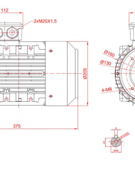 Motor electric trifazat cu doua viteze 2.4/1.8kw 3000/1400rpm 100 B14