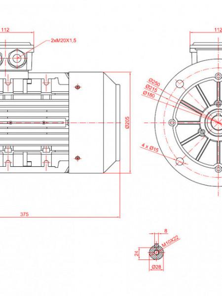 Motor electric trifazat 2.2kw 1000rpm 100 B5