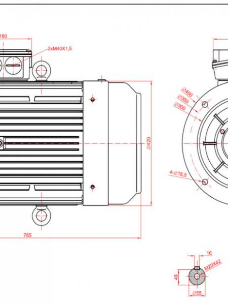 Motor electric trifazat 30kw 1400rpm 200 B5