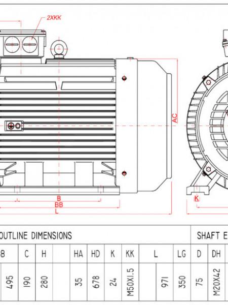 Motor electric trifazat 45kw 1000rpm 280 B3