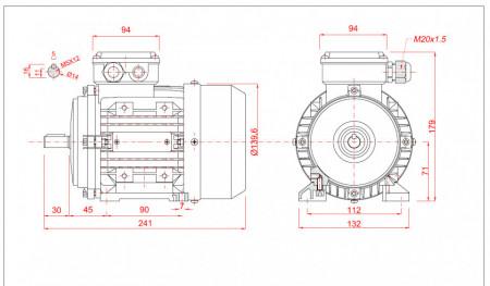 Motor electric trifazat cu doua viteze 0.3/0.15kw 1400/750rpm 71 B3