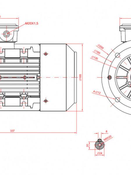 Motor electric trifazat cu doua viteze 0.75/0.55kw 1400/1000rpm 90 B5