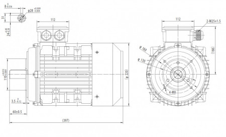 Motor electric trifazat cu doua viteze 2.2/1.3kw 1400/750rpm 112 B14