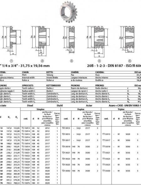 """Pinion cu butuc 20B-1 (1""""1/4X3/4) z=45 dinti BC3020 (25-75mm) otel"""