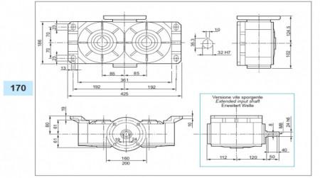 Reductor melcat cu iesire dubla tip VM 170 i=40 90B5 160rpm Nm37 H=32 Fs1.4 |1.8kw 4poli 1400rpm