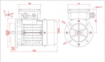 Motor electric trifazat 0.12kw 1400rpm 56 B5