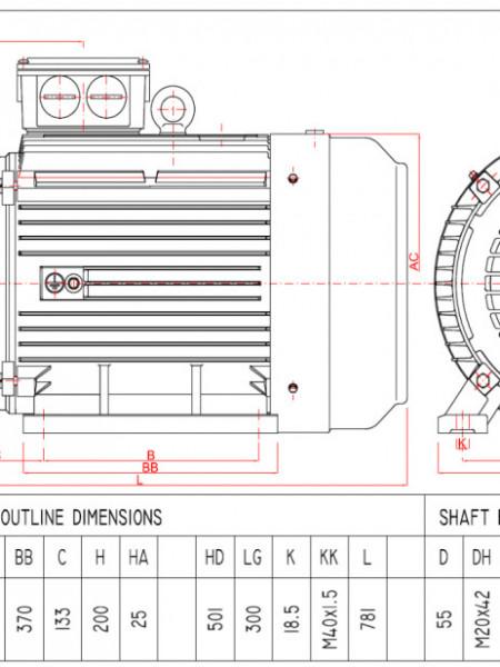 Motor electric trifazat 200kw 1400rpm 315 B5
