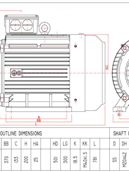 Motor electric trifazat 37kw 1400rpm 200 B3