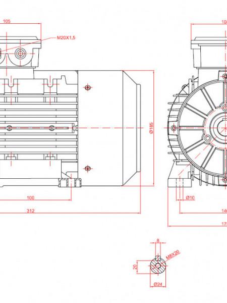 Motor electric trifazat cu doua viteze 1.3/0.88kw 1400/1000rpm 90 B3