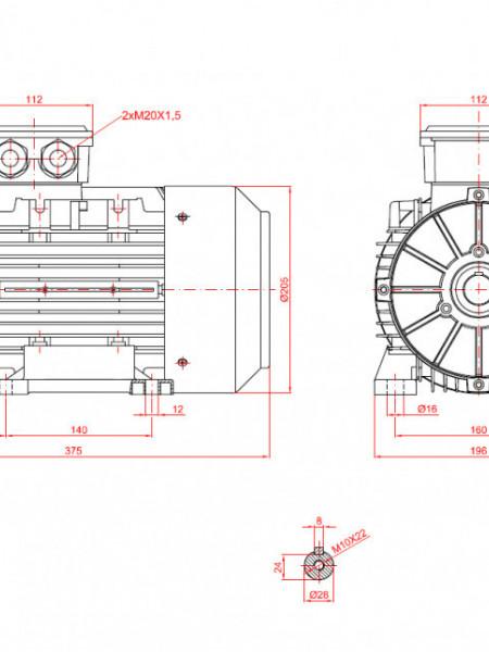 Motor electric trifazat cu doua viteze 4/3kw 3000/1400rpm 100 B3