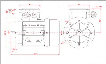 Motor electric trifazat 0.25kw 1400rpm 63 B5
