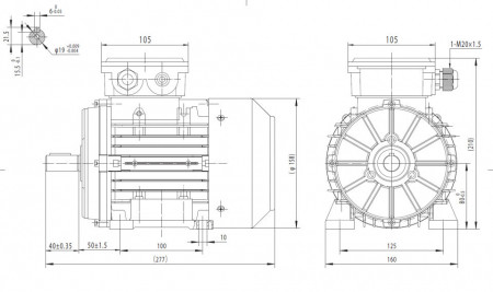Motor electric trifazat 0.37kw 1000rpm 80 B3
