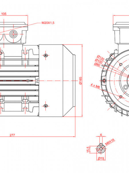 Motor electric trifazat 0.75kw 3000rpm 80 B14