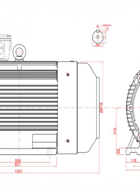 Motor electric trifazat 75kw 750rpm 315 B3