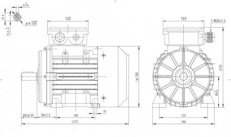 Motor electric trifazat cu doua viteze 0.6/0.26kw 1400/750rpm 80 B3
