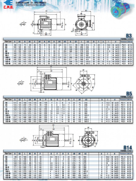 Motor electric trifazat cu doua viteze 8.5/5.5kw 1400/1000rpm 132 B14