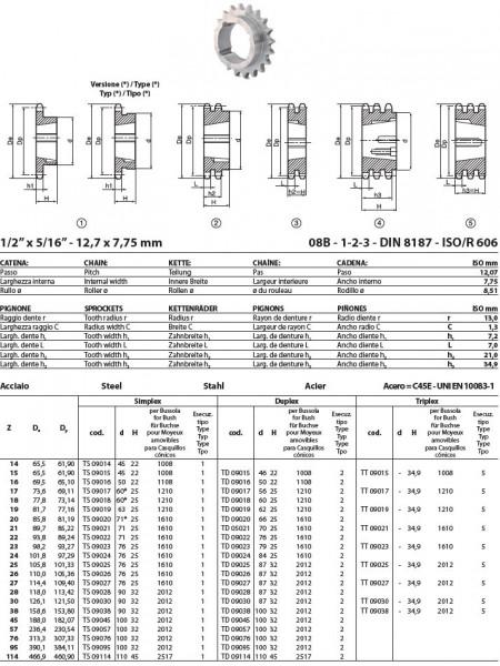 Pinion cu butuc 08B-1 (1/2X5/16) z=16 dinti BC1108 (9-28mm) otel