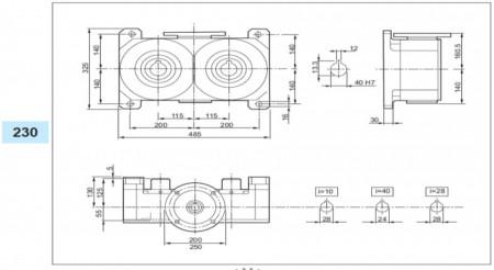 Reductor melcat cu iesire dubla tip VM 230 i=28 100/112B5 50rpm Nm268 H=40 Fs1.6  4kw 4poli 1400rpm