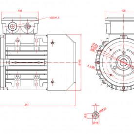 Motor electric trifazat cu doua viteze 0.55/0.37kw 1400/1000rpm 80 B14
