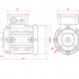 Motor electric trifazat 0.25kw 3000rpm 63 B14