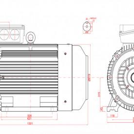 Motor electric trifazat 110kw 1400rpm 315 B5