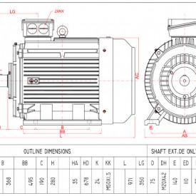 Motor electric trifazat 90kw 1400rpm 280 B3