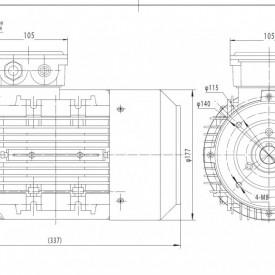 Motor electric trifazat cu doua viteze 2.2/1.5kw 3000/1400rpm 90 B14