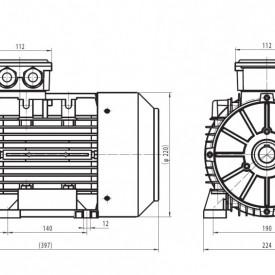 Motor electric trifazat cu doua viteze 3.6/2.6kw 1400/1000rpm 112 B3