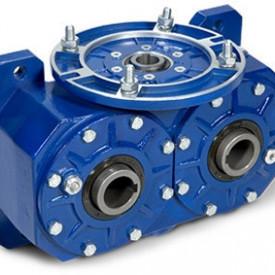 Reductor melcat cu iesire dubla tip VI 170 i=80 90 17.5rpm Nm218 H=32 |1.5kw 1400rpm