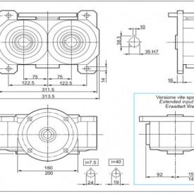 Reductor melcat cu iesire dubla tip VM 150 i=7.5 90B5 187rpm Nm37 H=35 Fs 3.7 |2.2kw 4poli 1400rpm