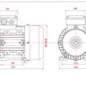 Motor electric trifazat 0.55kw 1400rpm 71 B3