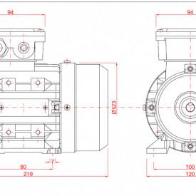 Motor electric trifazat cu doua viteze 0.22/0.15kw 3000/1400rpm 63 B3