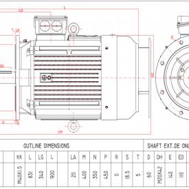 Motor electric trifazat 55kw 3000rpm 225 B3