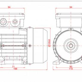 Motor electric trifazat cu doua viteze 0.04/0.3kw 1400/750rpm 56 B3
