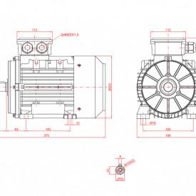Motor electric trifazat cu doua viteze 2.4/1.8kw 3000/1400rpm 100 B3