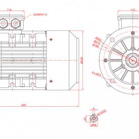 Motor electric trifazat cu doua viteze 2.8/2kw 1400/1000rpm 112 B5
