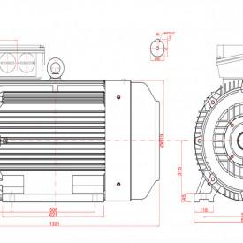 Motor electric trifazat 110kw 1000rpm 315 B3