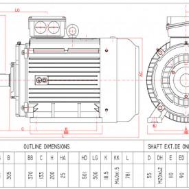 Motor electric trifazat 22kw 1000rpm 200 B3