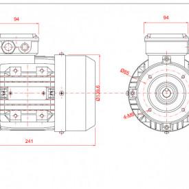 Motor electric trifazat 0.25kw 1000rpm 71 B14