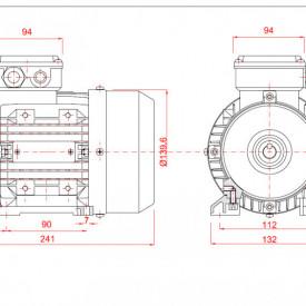 Motor electric trifazat cu doua viteze 0.8/0.6kw 3000/1400rpm 71 B3